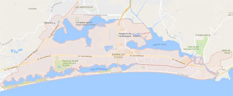 Mapa do Rio de Janeiro Barra da Tijuca