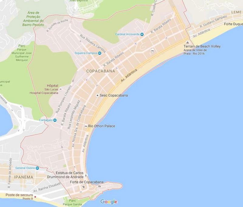 Mapa do Rio de Janeiro Copacabana