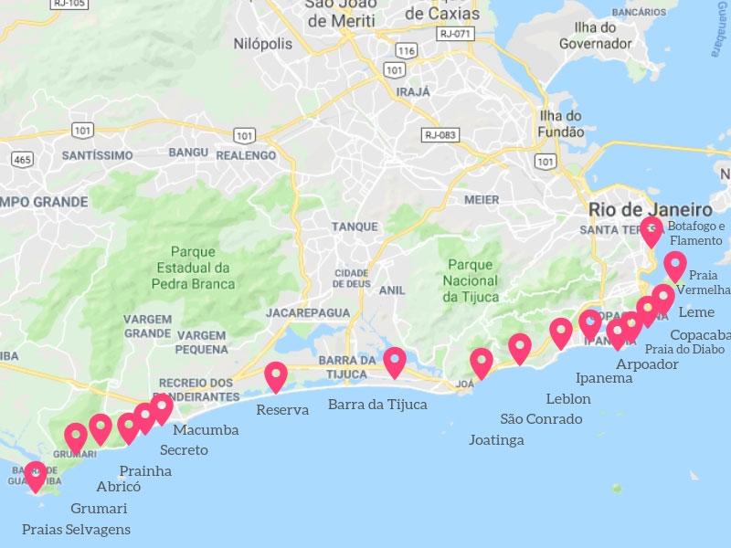 Mapa do Rio de Janeiro Praias
