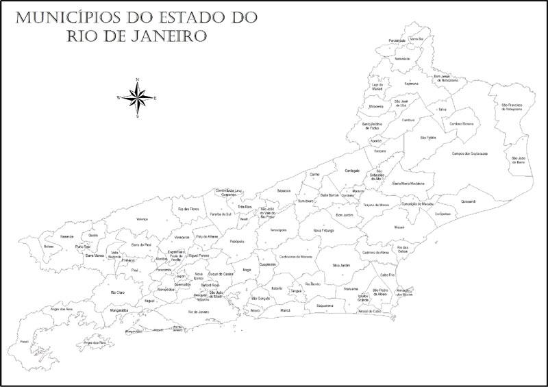 Mapa do Rio de Janeiro para Colorir