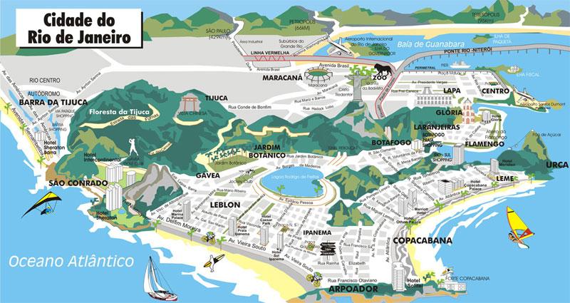 Mapa do Rio de Janeiro com Pontos Turísticos